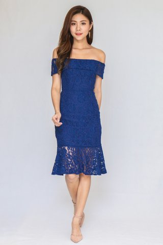 Romantic Lace Off Shoulder Dress In Navy (Size S)