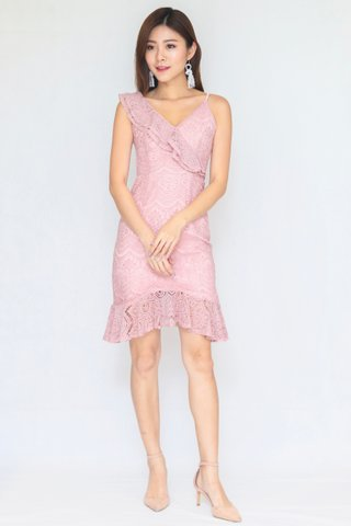 Trinity Lace Ruffles Strap Dress In Nude Pink