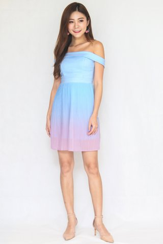 Paradise Ombre Pleats Off Shoulder Dress in Light Blue / Pink