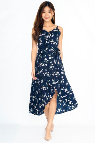 Blossoms White Flowers Dress In Navy