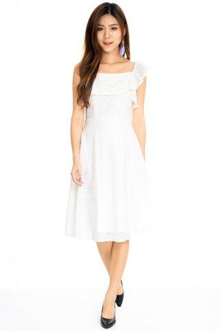 Admire Eyelet Midi Dress In White