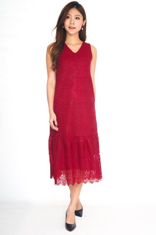 Enchanted Organza Dress In Red