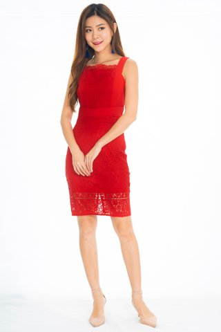 Romsey Lace Pencil Dress In Red