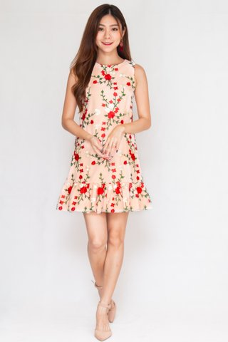 Bed Of Roses Embroidery Mesh Dress In Pink (Size XS)