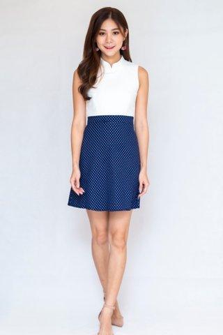 Viola Polka Dots Cheongsam Dress In Navy (Size L)