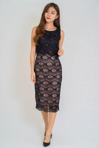 Rarus Scallop Lace Midi Dress In Black