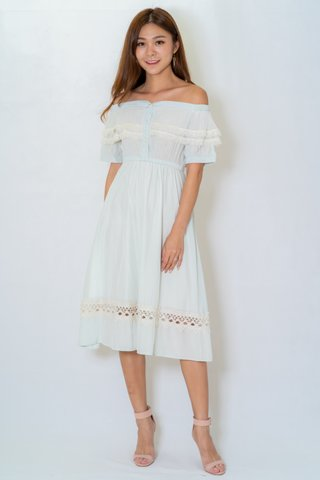 Lacey Off Shoulder Dress In Mint