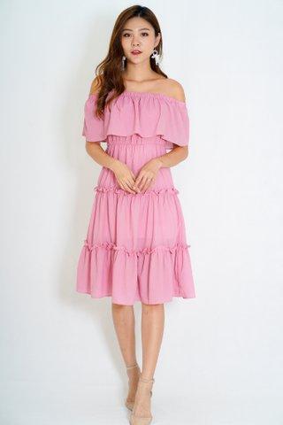 Santorini Off Shoulder Dress In Pink