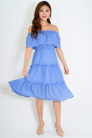 Santorini Off Shoulder Dress In Blue
