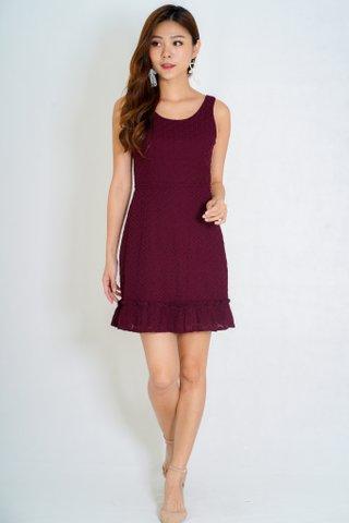 Chelsey Eyelet Dress In Maroon