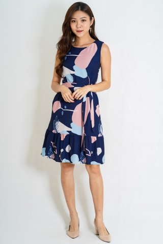 Connaught Abstract Dress In Navy (Size S)