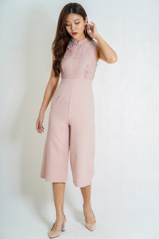 Harmonious Cheongsam Jumpsuit in Dusty Pink