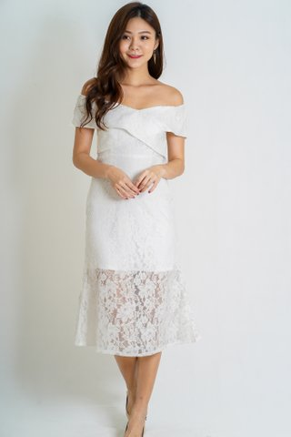 Charms Lace Off Shoulder Dress In White
