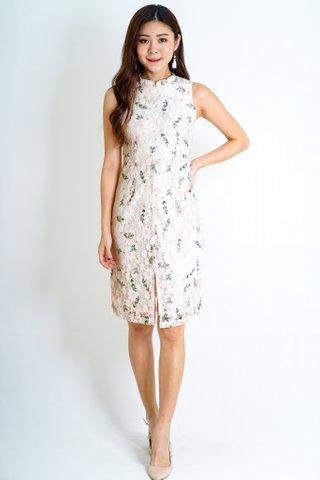 Floral Lace Detachable Mandarin Collar Dress In Peach