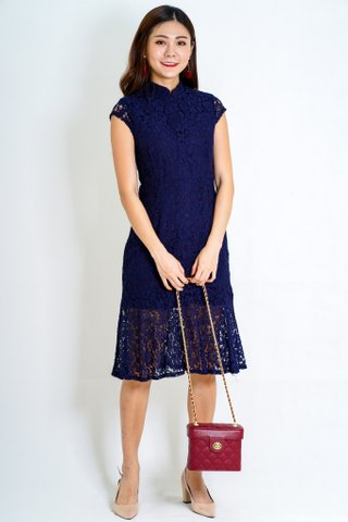 Abundance Lace Cheongsam In Navy