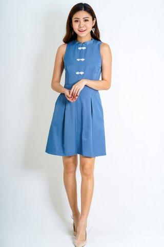 Oriental Detachable Collar Cheongsam in Blue