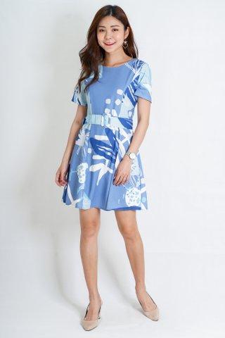 Fifi Prints Sleeve Skater Dress in Blue