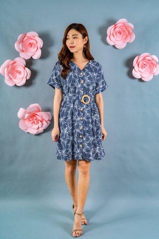 Liza Wooden Button Down Dress In Navy Prints