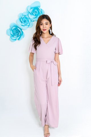 Khmer Fluffy Sleeve Jumpsuit In Pink