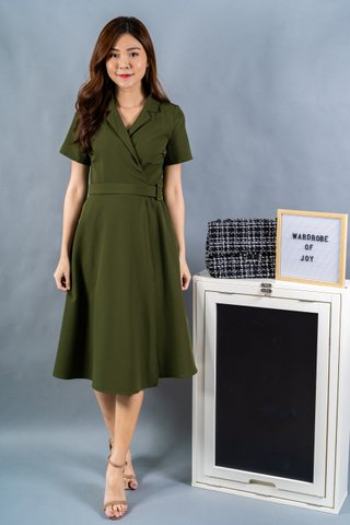 Verity Buckle Wrap Dress In Olive