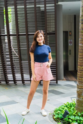 Melody Basic Knit Top In Navy