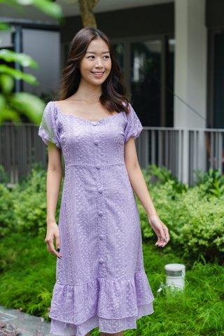 Gonflutter Lace Dress in Purple