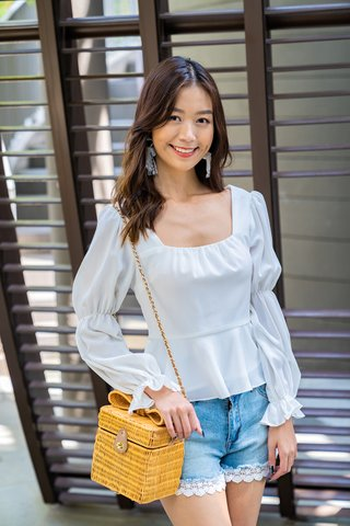 Polly Puffy Sleeve Square Neckline Top In White