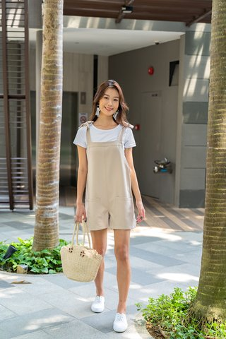 Elaine Shoulder Tie Pocket Romper In Sand