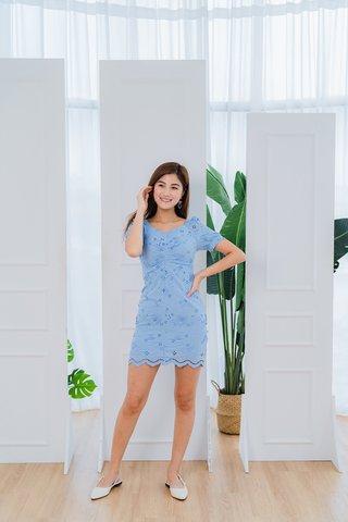 Aileen Eyelet Sleeves Dress In Blue