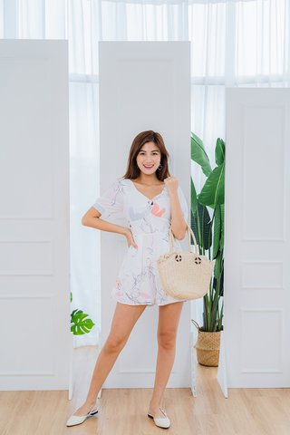 Dana Abstract Romper In White