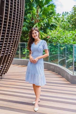 Flores Eyelet Dress In Baby Blue