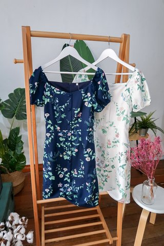 Eileen 2-Way A-Line Floral Dress In White