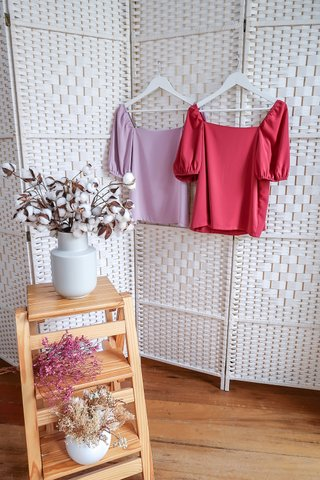 Valerie Puffy Sleeve Top In Rose Pink