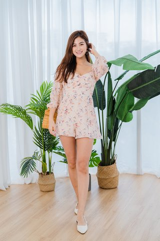 Jasmine Floral Romper In Light Pink