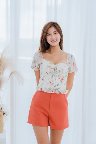 Shirley Floral Top In White