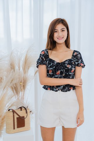 Shirley Floral Top In Black