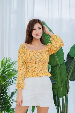 Miranda Floral Smocked Top In Sunshine Yellow