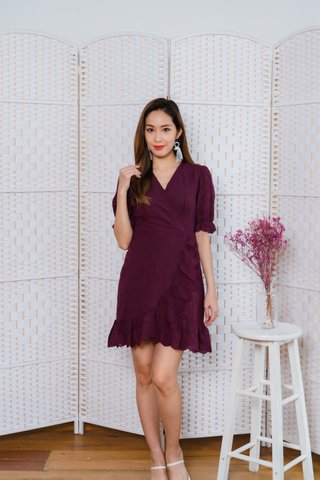 Vivian Ruffles Sleeves Dress In Wine