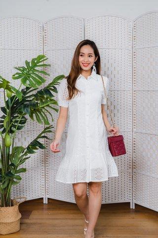 Hartley Collar Eyelet Sleeve Dress In White