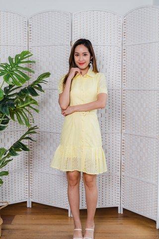 Hartley Collar Eyelet Sleeve Dress In Yellow