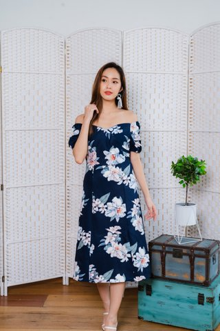 Fiona Floral Midi Dress In Navy