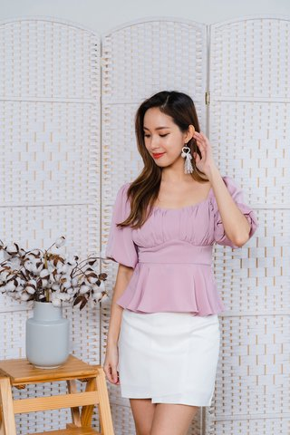 Dawn Puffy Sleeve Top In Pink