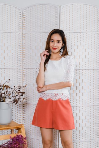 Vanessa Lace Flutter Sleeve Top In White
