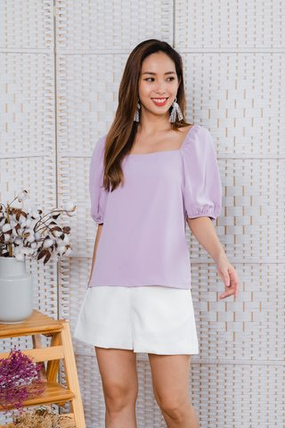 Valerie Puffy Sleeve Top In Lilac