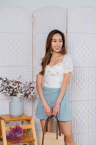 Polly Embroidery Eyelet Sleeve Top In White