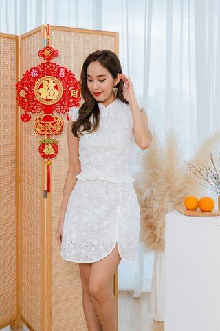 Prosperous Embroidery Eyelet 2-Piece Set In White