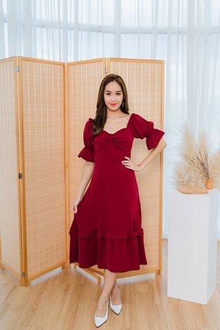Sarah Twist Knot Maxi Dress In Wine Red