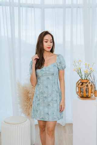 Danielle Embroidered Floral Dress In Sage