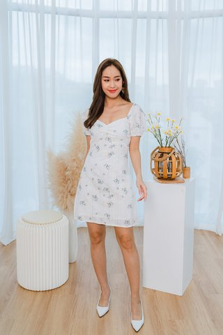 Danielle Embroidered Floral Dress In White