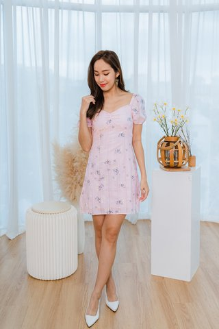 Danielle Embroidered Floral Dress In Pink